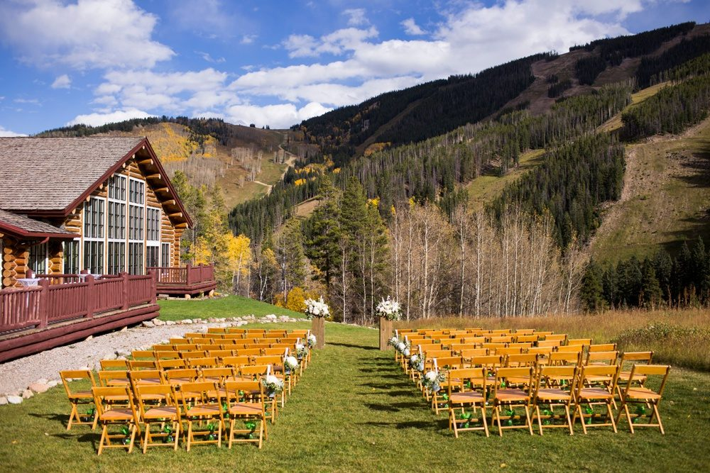 The ceremony site on the lawn at Beano's Cabin at Beaver Creek resort.