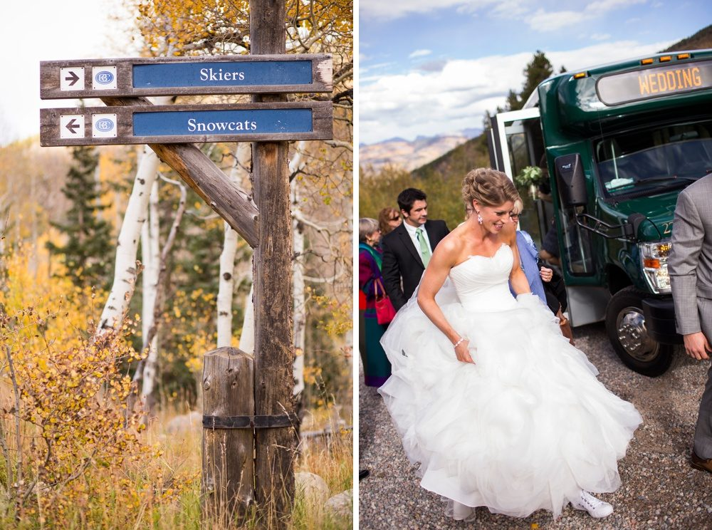 A bride and her family arrive via shuttle to her wedding at Beaver Creek resort.