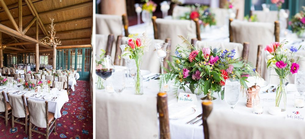 Beano's Cabin at Beaver Creek Resort decorated with vibrant flowers for a wedding rehearsal dinner.