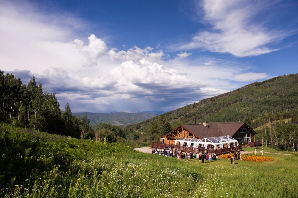 an exterior view of beano's cabin from the distance on a sunny colorado day in Beaver Creek.