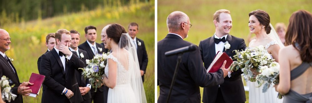 An emotional groom watches his bride walk down the aisle at their outdoor ceremony in colorado.