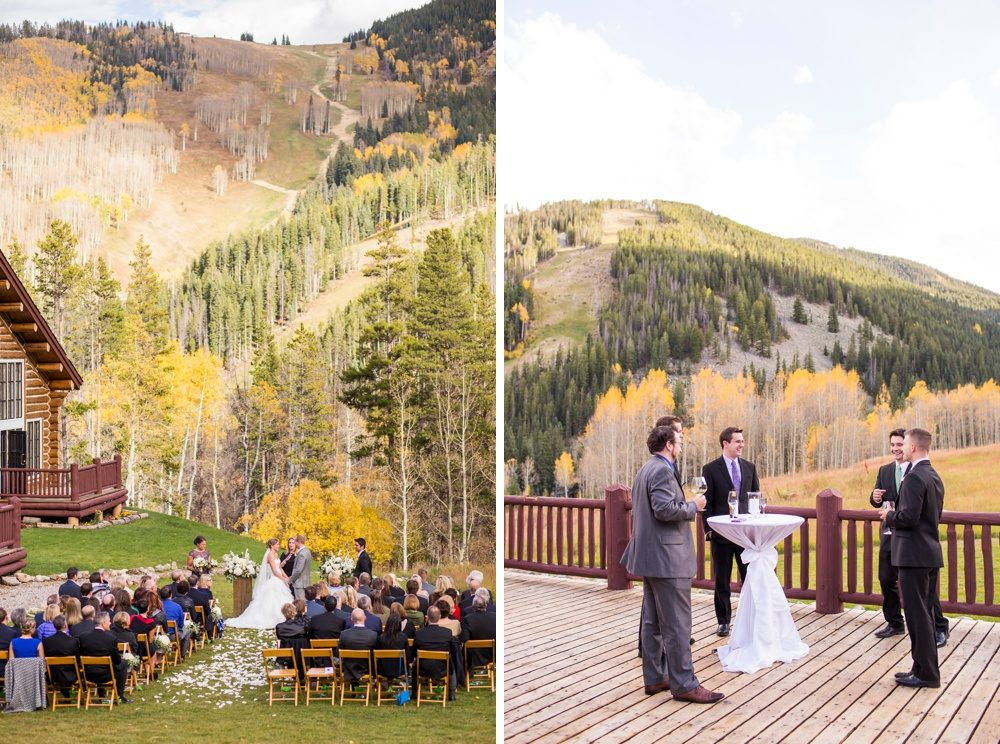 an outdoor wedding ceremony in beaver creek, colorado as seen from a distance with beautiful mountain views and fall colors in the distance