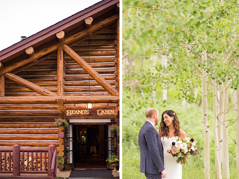 portrait of a bride and groom in an aspen grove at beano's cabin