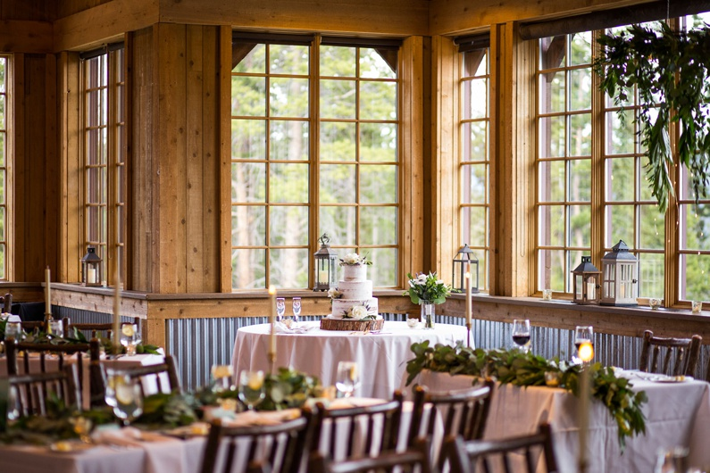 Ten Mile Station dining room decorated for a wedding reception at Breckenridge Ski Resort.