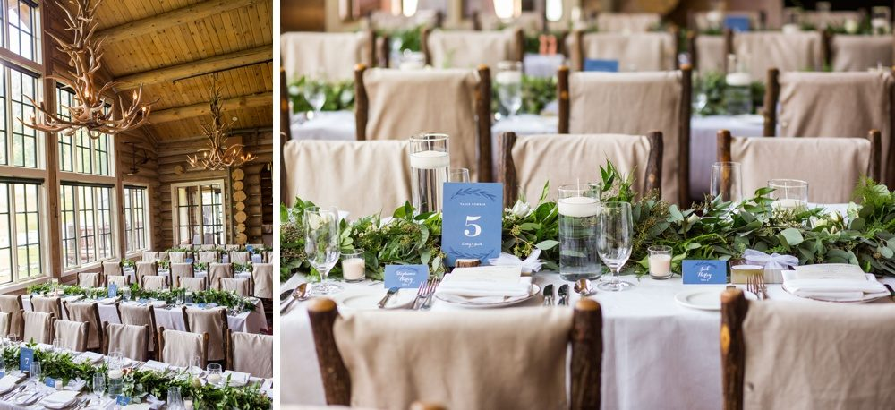 simple yet elegant decor and flowers made of ivy and candles at a colorado wedding reception in the mountains