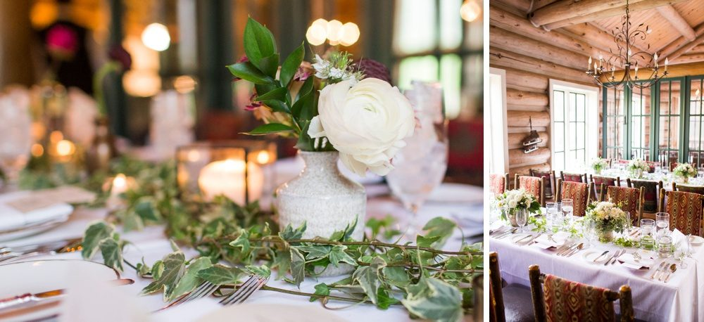 wedding decor made of delicate flowers, candles and ivy for a wedding reception in a colorado mountain lodge