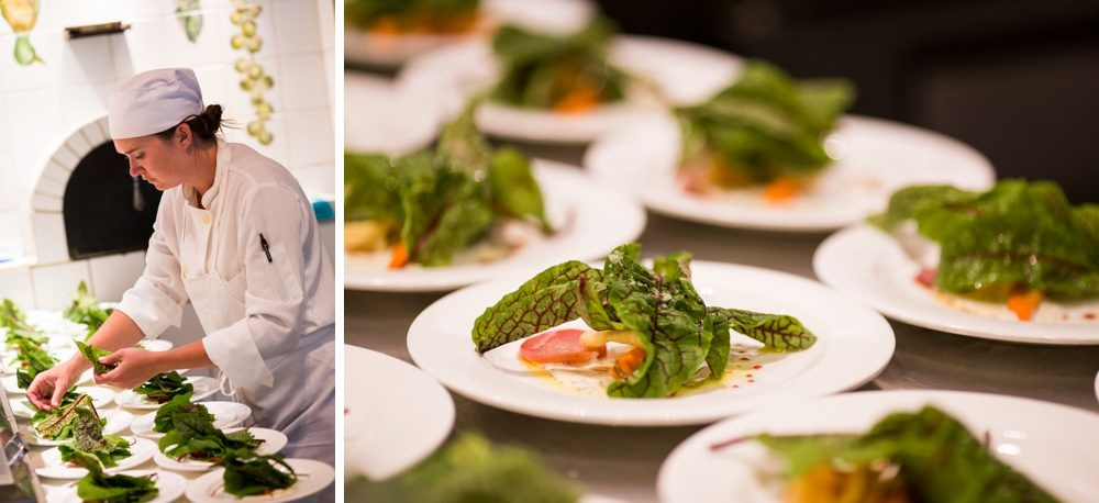 beanos cabin chef preparing salads for wedding guests at the luxury lodge in beaver creek colorado