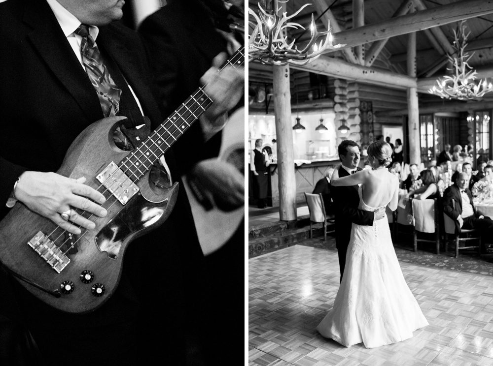 as the band plays acoustics a bride and groom share in their first dance while their guests watch from their seats