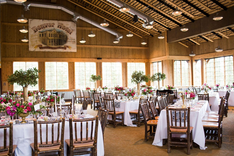 Ten Mile Station dining room decorated for a wedding reception.
