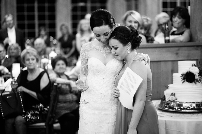 The sister of the bride gives an emotional toast.