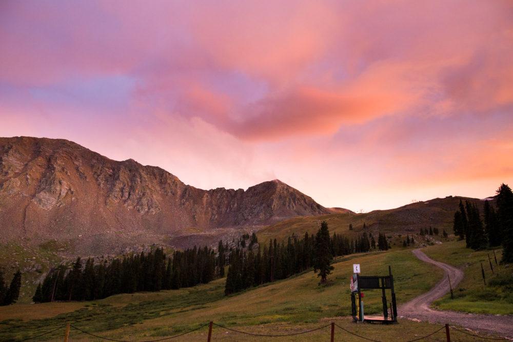 summer sunset at arapahoe basin ski area