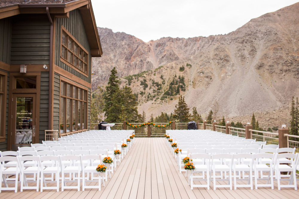 wedding ceremony site with mountain views