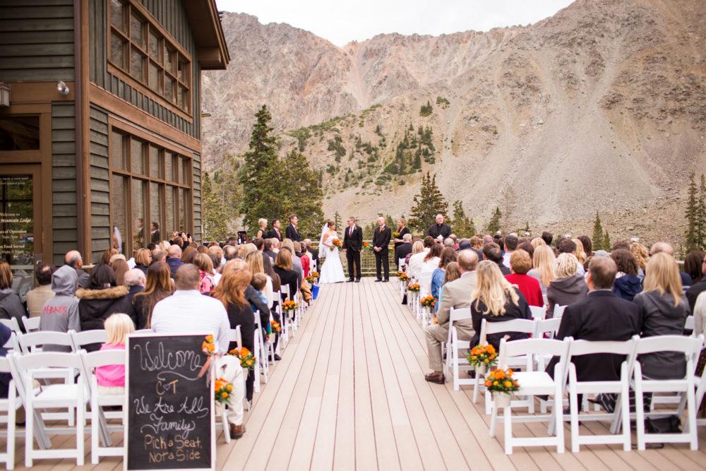 a wedding ceremony at arapahoe basin ski area