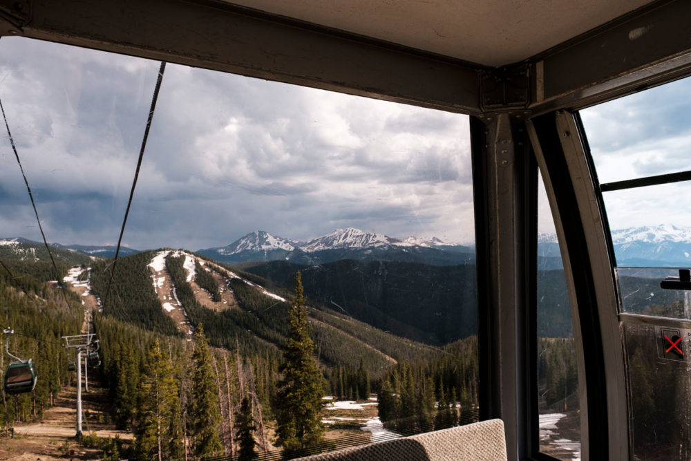 mountain views from inside a gondola
